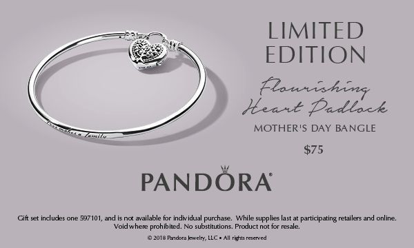 ecbdaa096 Available now, the Limited Edition Flourishing Heart Padlock Bangle from  PANDORA. Only while supplies last. *See store for details.
