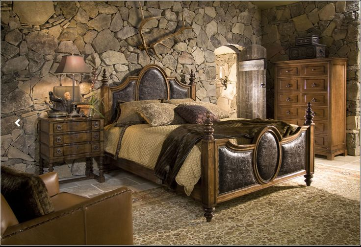 Wall Decoration Ideas Stone : Great stone wall idea for master bedroom interior design