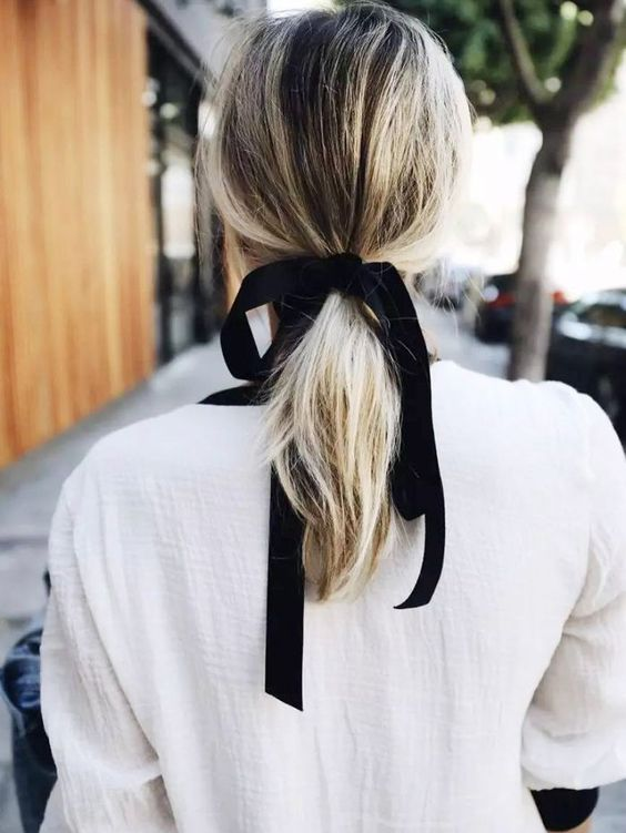 Simple Chic Hairstyles any can do Themselves: Try a Ribbon or Scarf in your ponytail