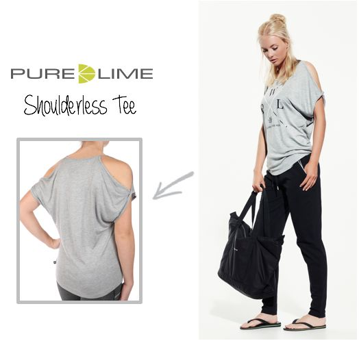 Perfect for training and everyday use. Begin May with this ultra soft Shoulderless Tee with silver print in the front........ also available in black.