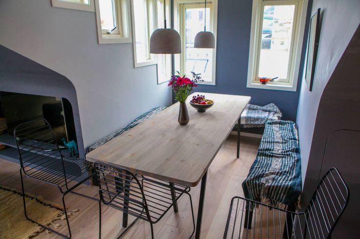 Ny spiseplass, to ulike gråfarger på veggene. Foto: TID FOR HJEM/TV 2