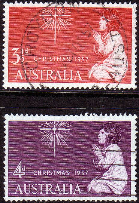 Australia 1957 SG 298 9 Christmas Set Fine Used SG 298 9 Scott 306 7 Condition Fine Used Only one post charge applied on multipule