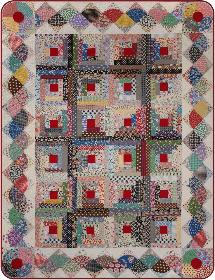 log cabin quilt with interesting border.Border Ideas, Quilt Inspiration, Second Time, Scrappy Quilt, Scrap Quilt, Border Design, Logs Cabin, Quilt Pattern, Cabin Quilt