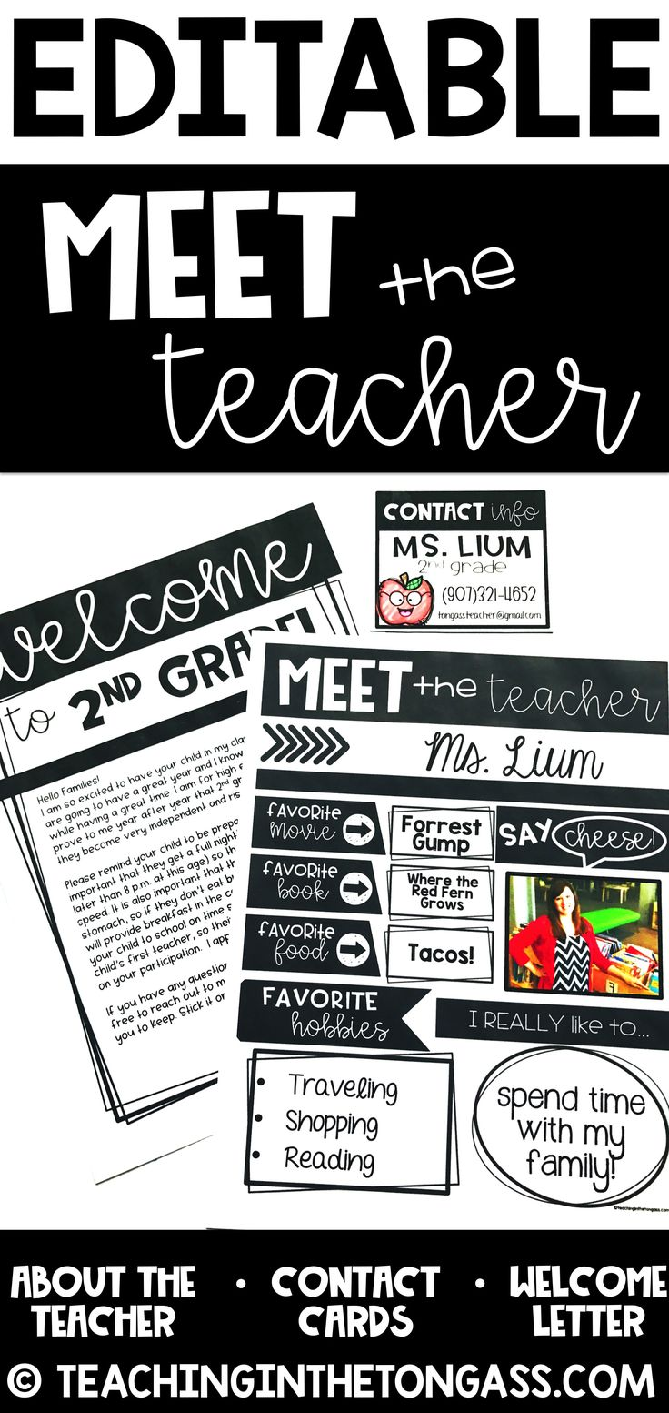This pack includes an editable meet the teacher letter, editable welcome back letter and editable teacher contact cards!