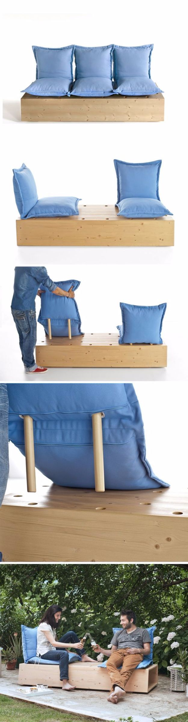 DIY Sofas and Couches - Sectional Garden Sofa - Easy and Creative Furniture and Home Decor Ideas - Make Your Own Sofa or Couch on A Budget - Makeover Your Current Couch With Slipcovers, Painting and More. Step by Step Tutorials and Instructions http://diyjoy.com/diy-sofas-couches