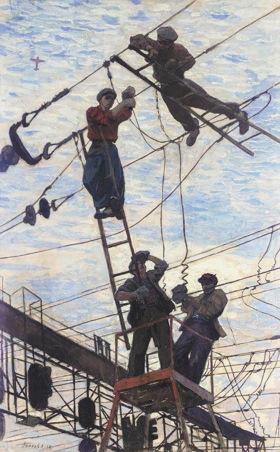 ELECTRICIANS by Viktor Popkov (Russian, 1932-1974)