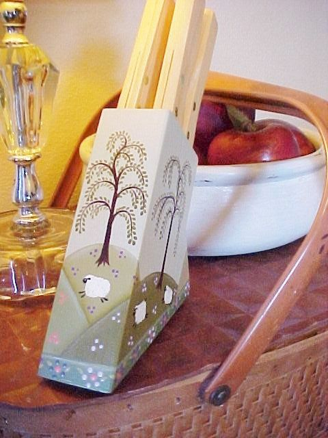 Small Knife Block With Hand Painted Prim Sheep by ToletallyPainted,