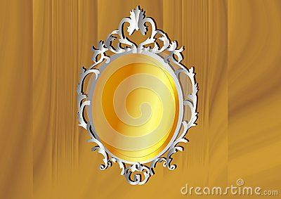Silver and Yellow Gold Baroque frame. Vector illustration.
