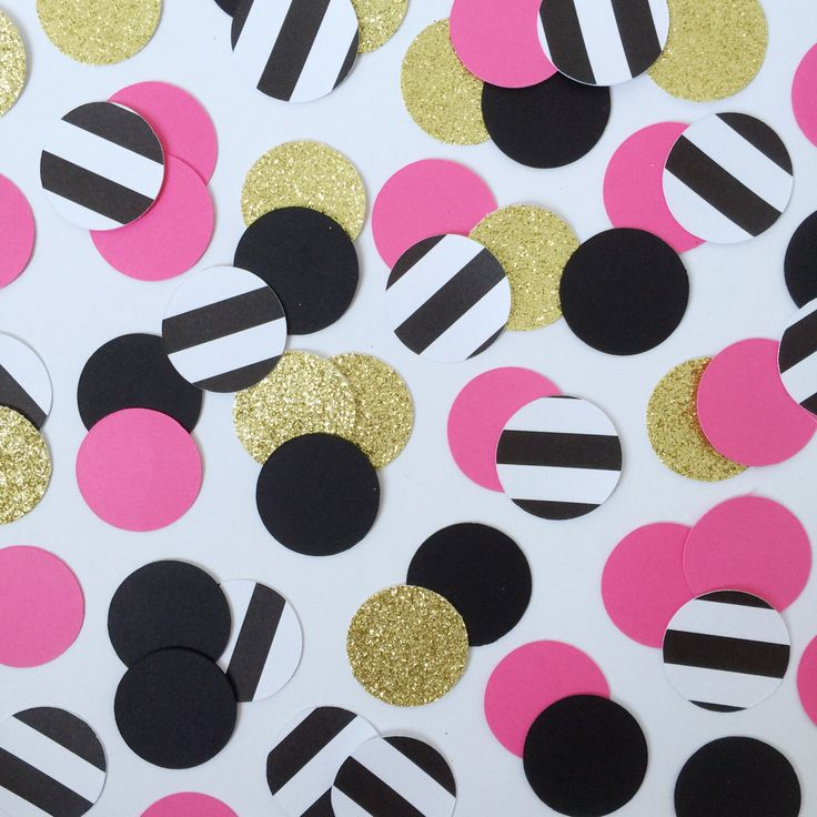 100 Kate Spade Party Confetti, 30th Birthday Decor, Paris Confetti Bridal Shower, Fuschia, Pink, Black, Black&White Stripe, Gold Glitter by TrendiConfetti on Etsy https://www.etsy.com/ca/listing/463930017/100-kate-spade-party-confetti-30th