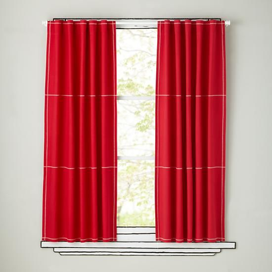The Land of Nod | Kids Curtains: Kids Red Canvas Curtain Panels in Curtains & Hardwares