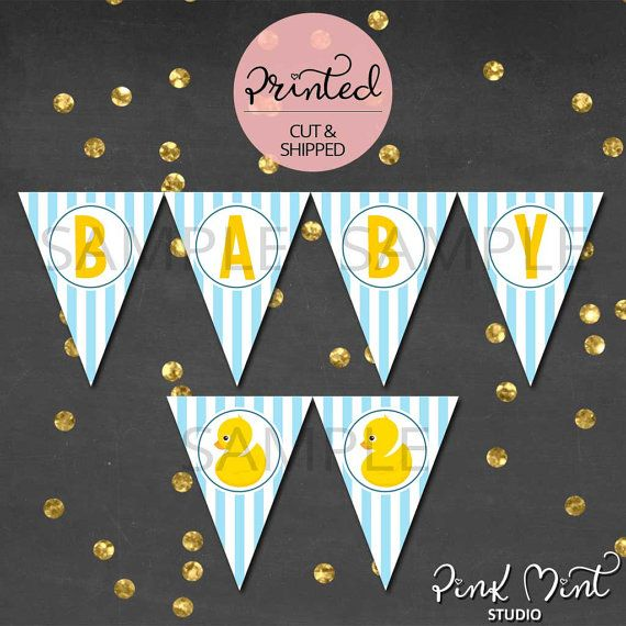 Rubber Ducky Baby Shower Decoration Pennant by PinkMintStudio