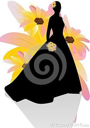 Vector drawing silhouette of a woman in evening dress with flower.