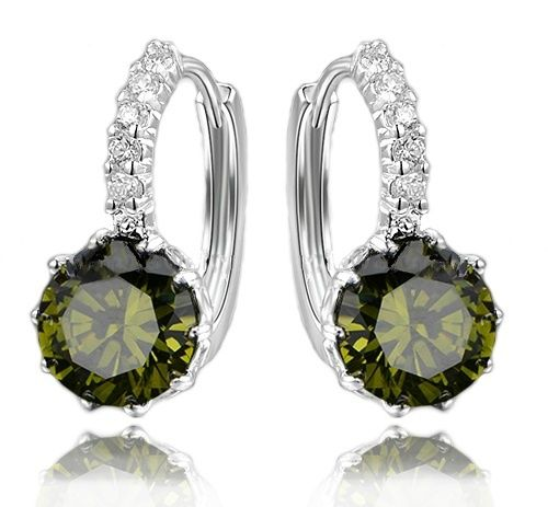 Silver Dangle Earrings With Zirconia (OLIVE GREEN)