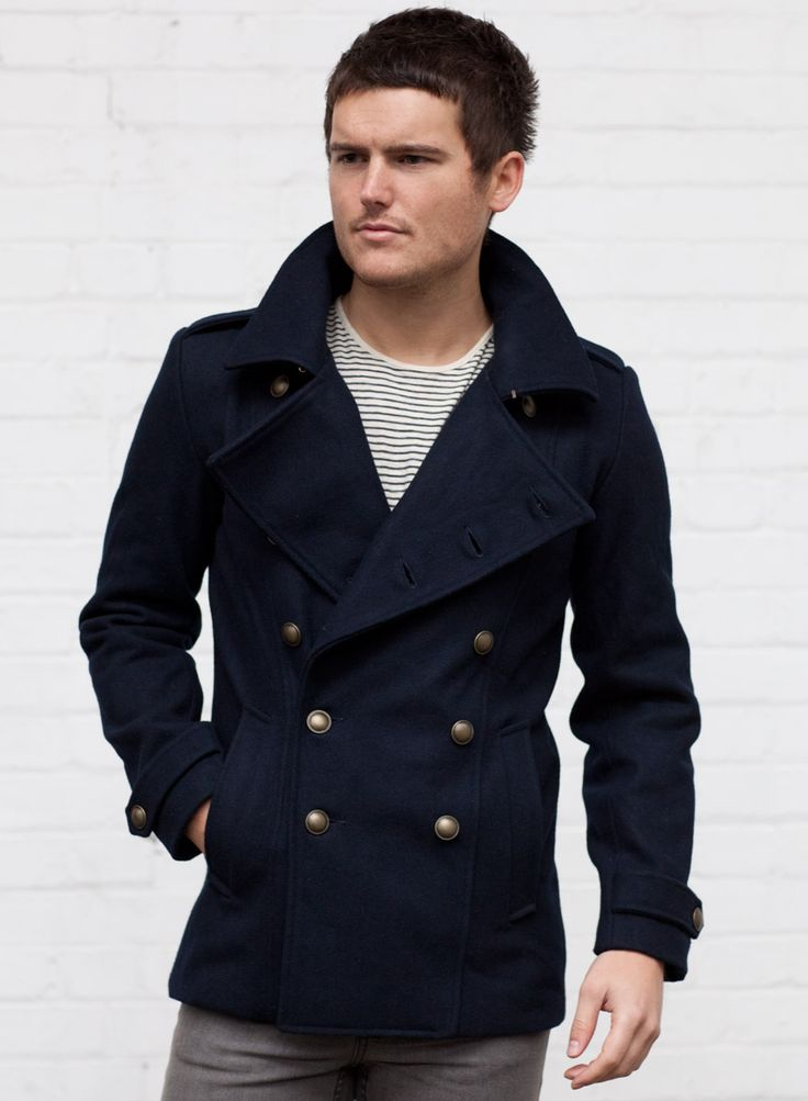 Men's Navy Military Wool Pea Coat $112 | Men's Style I Adore