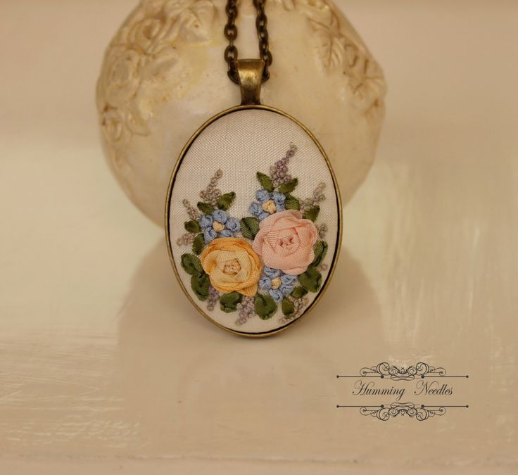 Rose Garden Detail Silk Ribbon Embroidery Pendant Necklace by HummingNeedles on Etsy https://www.etsy.com/listing/225335231/rose-garden-detail-silk-ribbon