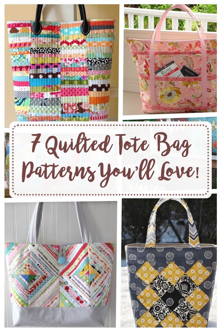 Picture says 7 but actually this link has 8 beautiful quilted tote bags to make.  I love how I can use up my scraps on some of these patterns too.  Nice ideas for quilted tote bags to sew.