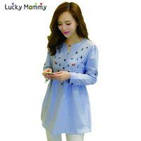 Plus tamaño de maternidad blusas camisas para mujeres embarazadas de manga larga azul camisa embarazo embarazada blusa de primavera de maternidad