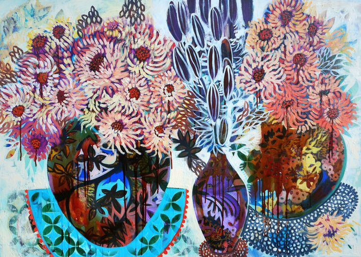 """SOLD """"Treacle afternoons & sunset blooms"""" by Sarah Hickey www.tuskgallery.com.au"""