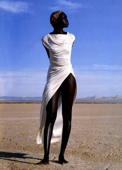 Alek Wek in Emanuel Ungaro Spring 1999, photographed by Herb Ritts for Vogue Paris, April 1999.