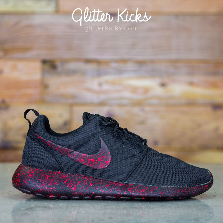 save off 10622 c8b0f Cheerleading Shoes  Nike Roshe One Customized by Glitter Kicks - Triple  Black + Red Paint Speckle ...
