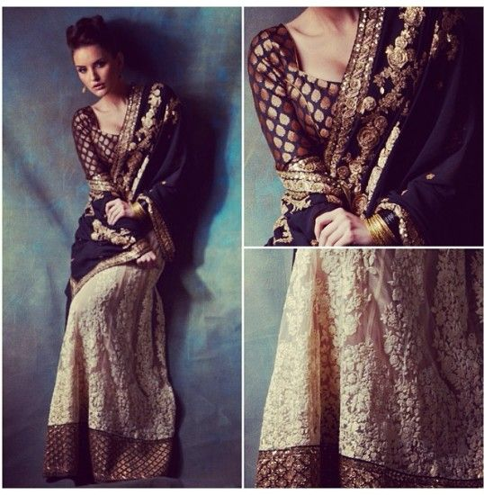 Sabyasachi - black, cream, & gold lengha