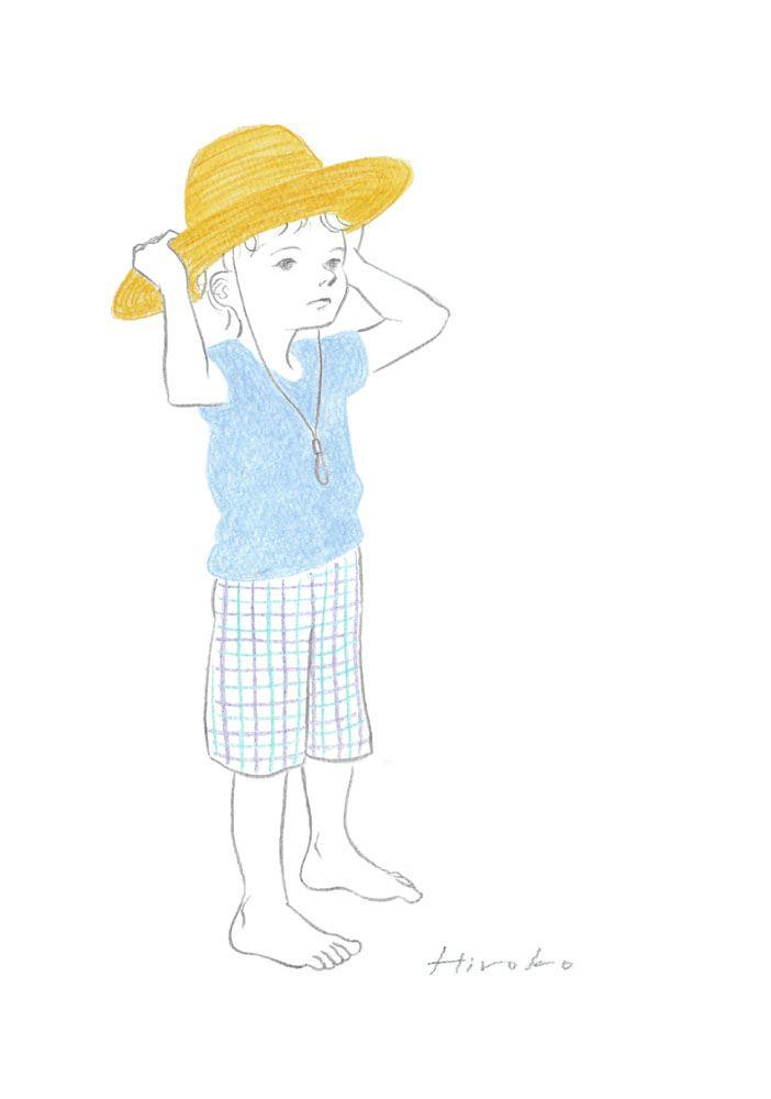 『ぼくの麦わら帽子』 色鉛筆・鉛筆 24m×9cm
