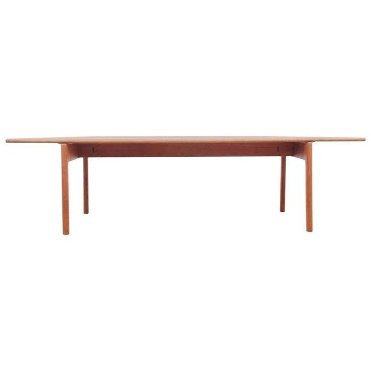 Mid-Century Modern Scandinavian Coffee Table in Solid Oak by Hans Wegner | From a unique collection of antique and modern coffee and cocktail tables at https://www.1stdibs.com/furniture/tables/coffee-tables-cocktail-tables/