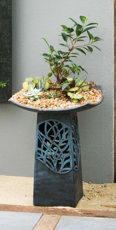 Intricate LED Hand Glazed Ceramic Birdbath