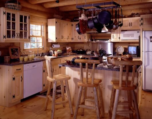 Superior Log Furniture And A Natural Stain On The Cabinets Maintain A Consistent  Look In This Log Gallery