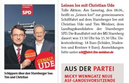 Die Schifffahrt mit Christian Ude und Tim Weidner hat es sogar bis in den Vorwärts geschafft!