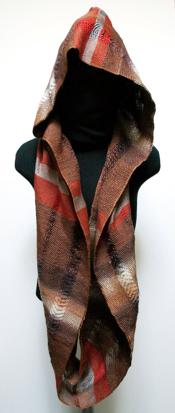 Handwoven Hooded Twill Infinity Scarf by eacrisman on Etsy