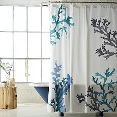 shower curtain: Westelm, Guest Bathroom, Beaches House, Coral Showers Curtains, Shower Curtains, Bathroom Showers, Reefs Showers, West Elm, Coral Reefs