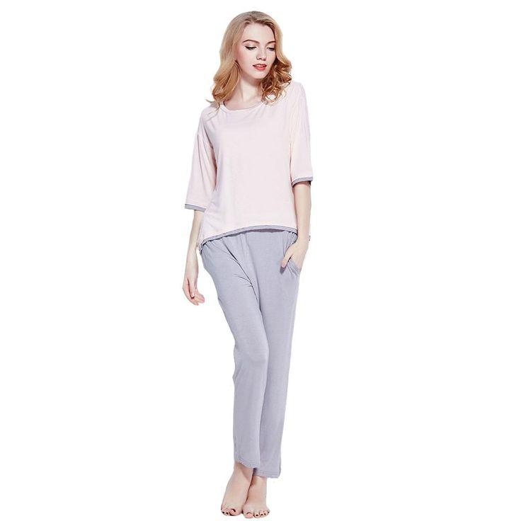 Charlee Cooper Pink And Grey Two Piece Short Sleeve Pyjama Set