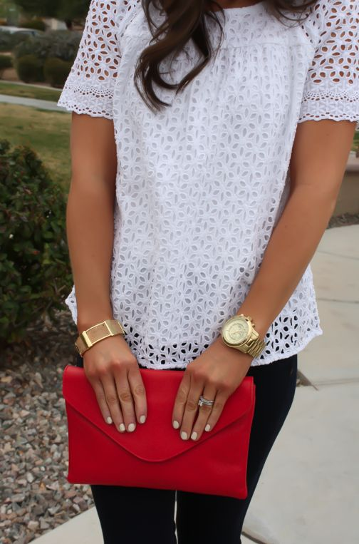 Floral Eyelet Dressy Casual - I like the eyelet pattern, not necessarily on the whole top, but as an accent as well.