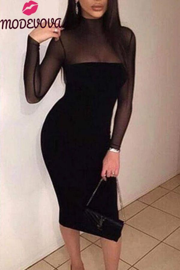 High Neck Zipper Hollow Out Plain Bodycon Dresses 3