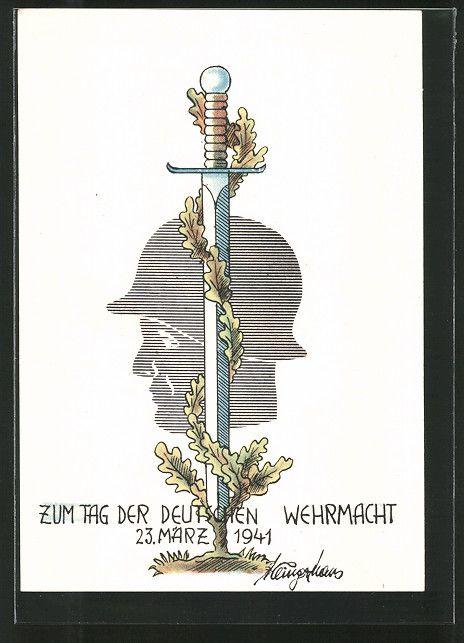 old postcard: Künstler-AK Tag der Deutschen Wehrmacht 1941, Schwert mit Eichenlaub, Soldatenporträt