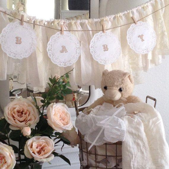 DIY Baby Shower Doily Banner Kit, Baby Shower Banner Ideas,  Lace Paper Doily Garland, Shabby Chic Baby Shower Decor, Dena Danielle Designs