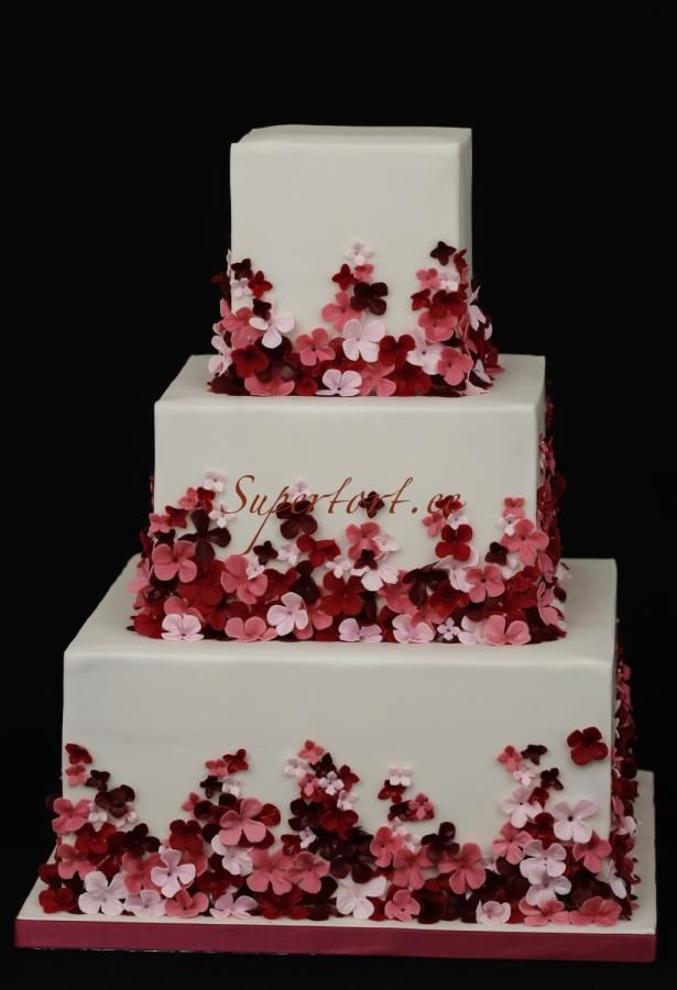 Red rose and pink hortensia wedding cake by Olga Danilova - http://cakesdecor.com/cakes/254911-red-rose-and-pink-hortensia-wedding-cake