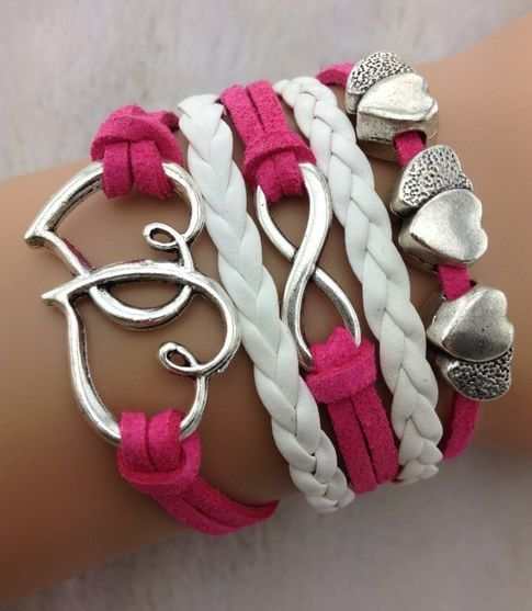 "Girls Hot Pink and White Bracelet. Only $11.95 Great Stock Filler Idea or Give one to her ""Bestie"" FREE Postage on all accessories.  http://www.duckids.com.au/childrens-clothing-online/girls-stocking-filler-ideas.html"