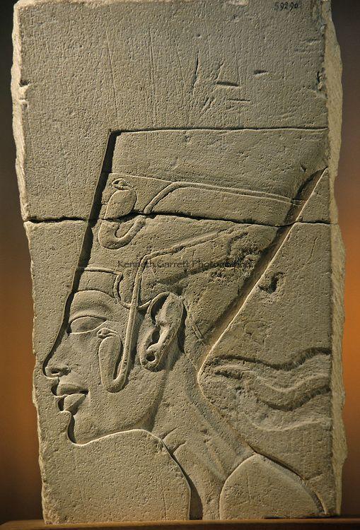 Amarna; Temple of the Aten; sculptor's model of Nefertiti, limestone.