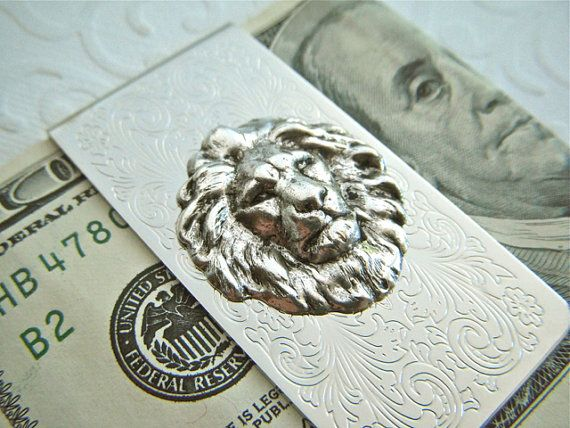 Silver Lion Money Clip Silver Money Clip Gothic Victorian Classic Vintage Inspired Gifts Mens Money Clip via Etsy