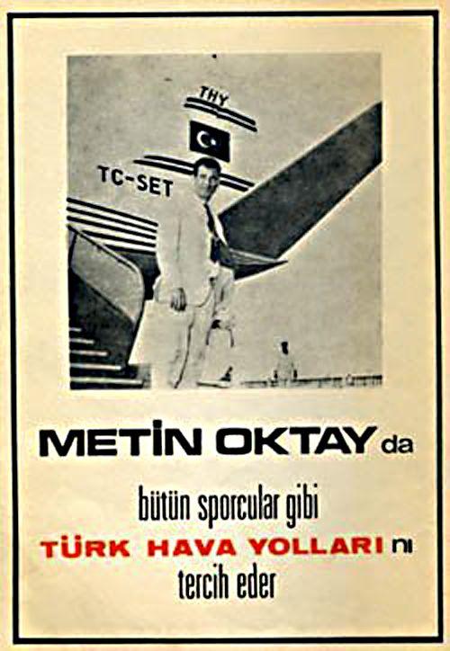 """Vintage Travel Poster """" Turkish Airlines """" Metin Oktay'da bütün sporcular gibi Türk Hava Yollarını tercih eder."""