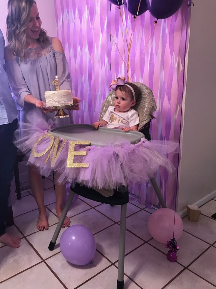 Purple and gold glitter unicorn first birthday party