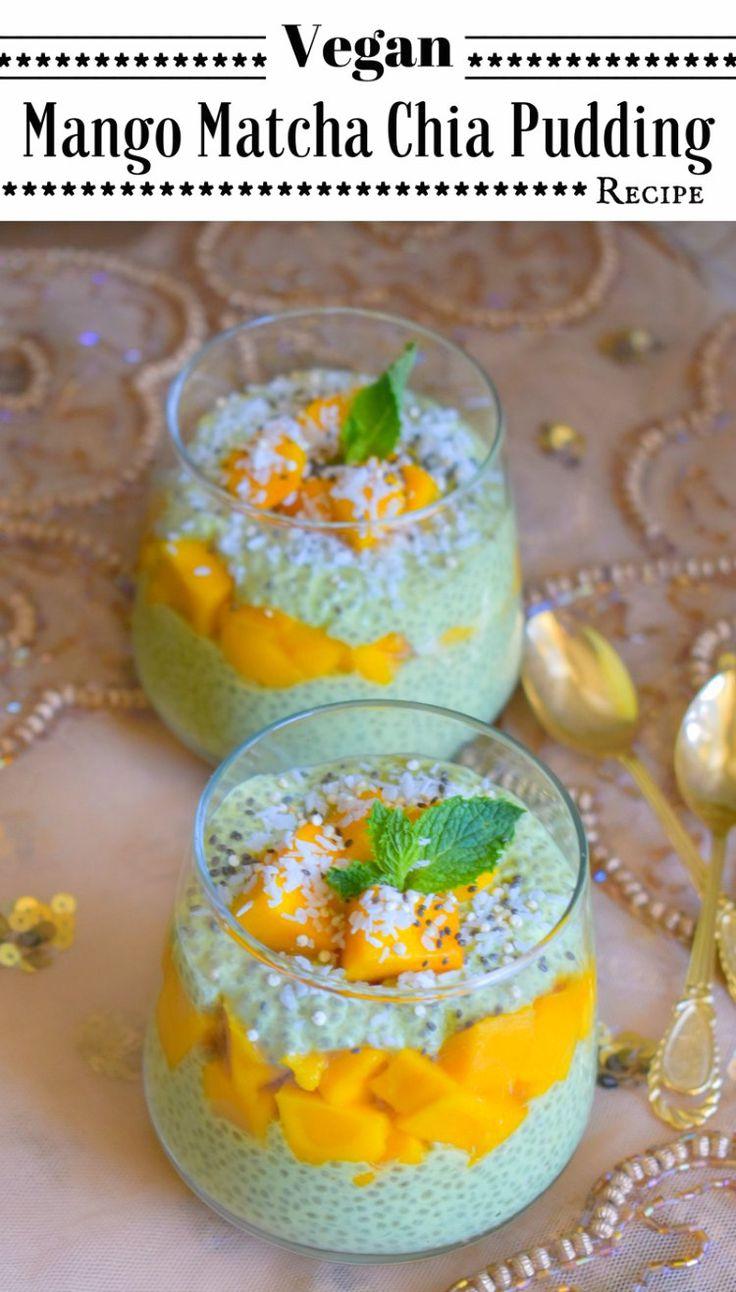 Vegan Mango Matcha Chia Pudding Recipe: #mango #matcha #chia #pudding #vegan