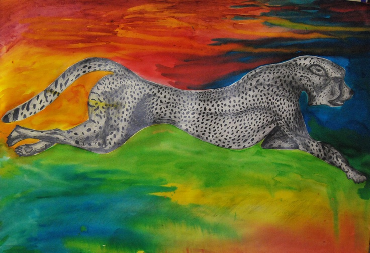 Leopard painting, Harriet Gray, Year 12