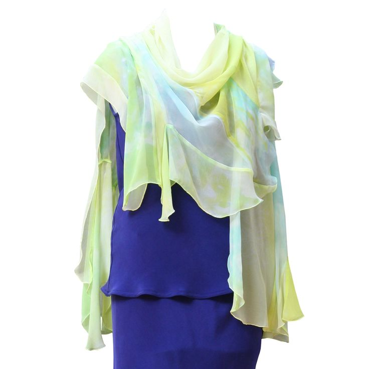 Gypsy Shawl in Marbled Lime by Charles and Patricia Lester // Blue Moon Collection