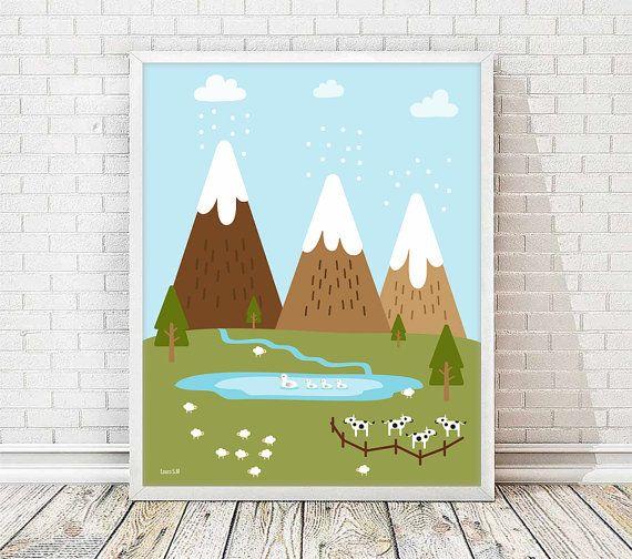 laminas infantiles, laminas A4, laminas imprimibles, cuadro infantil, cuadros decorativos, lámina montañas infantil, cuadro naturaleza
