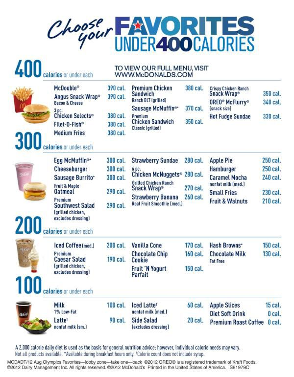 McDonald's 400 Calorie Menu. The calorie counts might be low, but remember they are still void of any nutrition.