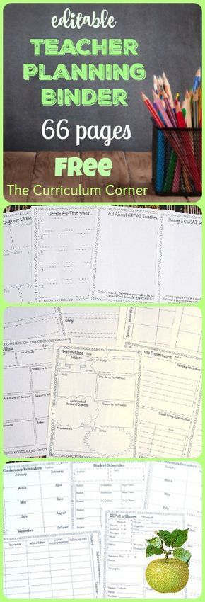 FREE Editable Teacher Planning Binder - 66 editable pages from The Curriculum Corner