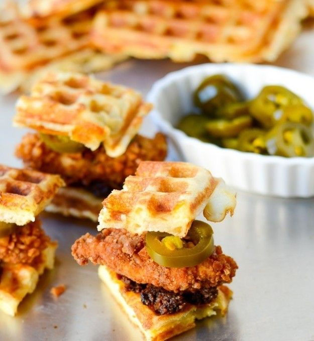 Pretzel Crusted Chicken and Cheddar Waffle Sliders with Bacon Jam | Community Post: 21 Mouthwatering Sliders That Prove Good Things Come In Small Packages
